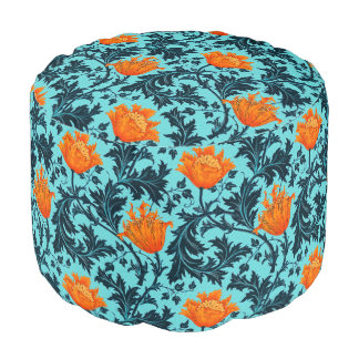 William Morris Anemone, Indigo Blue and Coral Pouf
