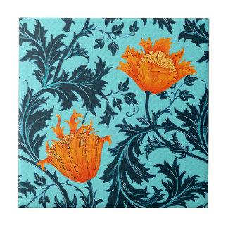 William Morris Anemone, Indigo Blue and Coral Tile