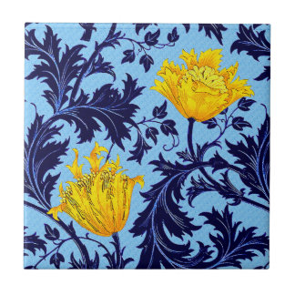 William Morris Anemone, Navy and Mustard Yellow Ceramic Tile