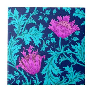 William Morris Anemone, Navy, Turquoise & Magenta Ceramic Tile