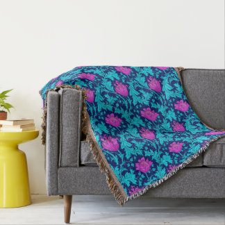 William Morris Anemone, Navy, Turquoise & Magenta Throw Blanket