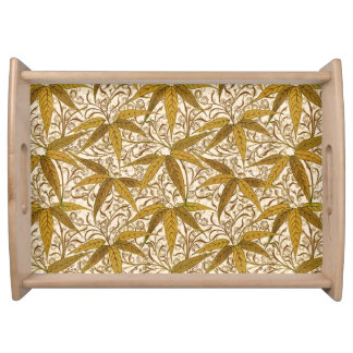 William Morris Bamboo Print, Gold and Cream Serving Tray