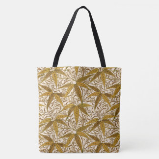 William Morris Bamboo Print, Gold and Cream Tote Bag