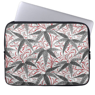 William Morris Bamboo Print, Gray and White Laptop Sleeve