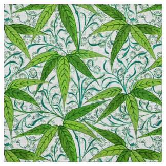 William Morris Bamboo Print, Green and White Fabric