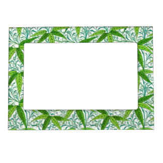 William Morris Bamboo Print, Green and White Magnetic Picture Frame