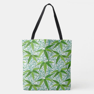 William Morris Bamboo Print, Green and White Tote Bag