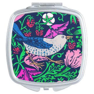 William Morris Bird & Flower Tile, Navy & Fuchsia Travel Mirrors