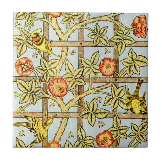 William Morris birds and flowers pattern Small Square Tile
