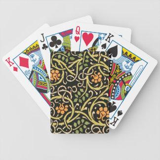 William Morris Black Floral Art Print Design Bicycle Playing Cards