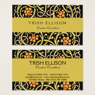 William Morris Black Floral Art Print Design Business Card