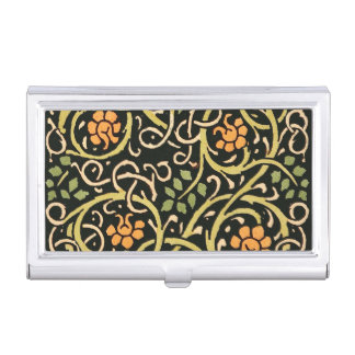 William Morris Black Floral Art Print Design Business Card Holder