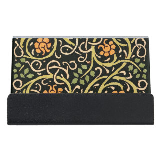 William Morris Black Floral Art Print Design Desk Business Card Holder