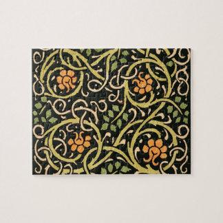 William Morris Black Floral Art Print Design Jigsaw Puzzle