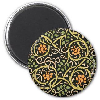 William Morris Black Floral Art Print Design Magnet
