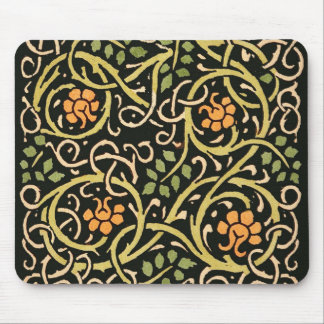 William Morris Black Floral Art Print Design Mouse Pad
