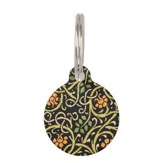 William Morris Black Floral Art Print Design Pet Name Tag