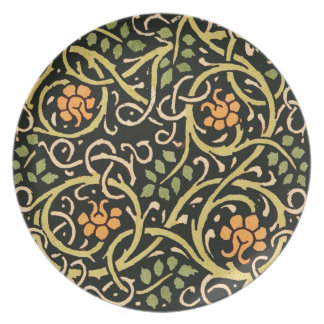 William Morris Black Floral Art Print Design Plate