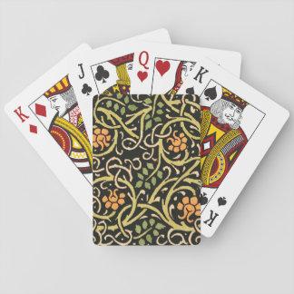 William Morris Black Floral Art Print Design Playing Cards