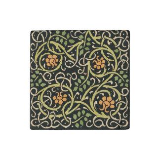 William Morris Black Floral Art Print Design Stone Magnet