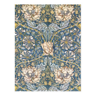 William Morris Blue Floral Postcard