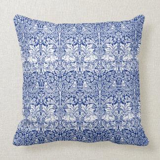 William Morris Brother Rabbit Blue Vintage Pattern Cushion