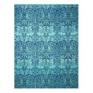 William Morris Brother Rabbit Pattern in Blue Postcard