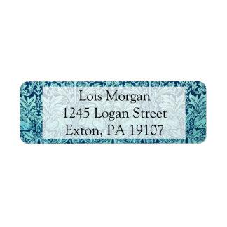 William Morris Brother Rabbit Pattern in Blue Return Address Label