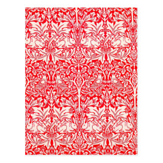 WIlliam Morris Brother Rabbit Pattern in Red Postcard