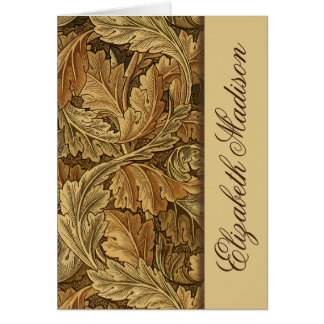 William Morris Brown Leaves Personalized Note Card