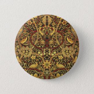 William Morris Bullerswood Tapestry Floral Art 6 Cm Round Badge
