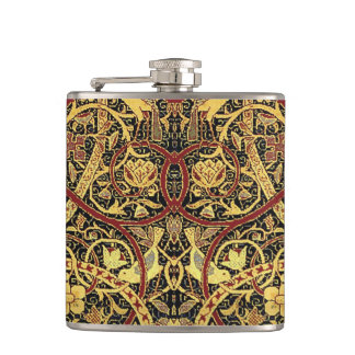 William Morris Bullerswood Tapestry Floral Art Hip Flask