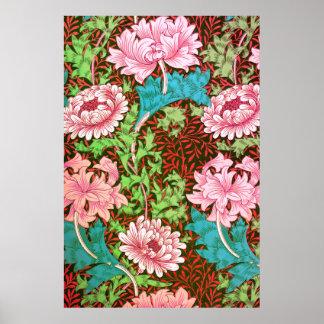 William Morris Chrysanthemum Floral Wallpaper Poster