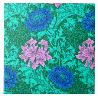 William Morris Chrysanthemums, Aqua and Violet Ceramic Tile