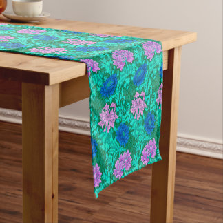 William Morris Chrysanthemums, Aqua and Violet Short Table Runner