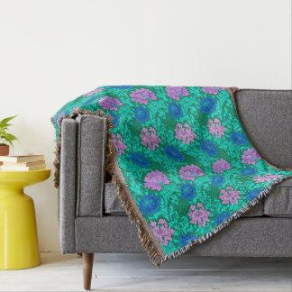 William Morris Chrysanthemums, Aqua and Violet Throw Blanket
