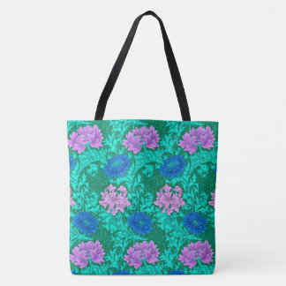 William Morris Chrysanthemums, Aqua and Violet Tote Bag