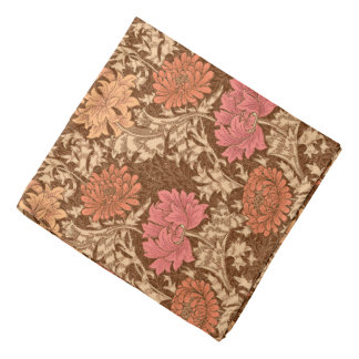 William Morris Chrysanthemums, Brown and Rust Bandana