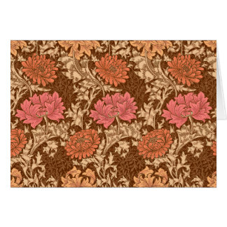 William Morris Chrysanthemums, Brown and Rust Card