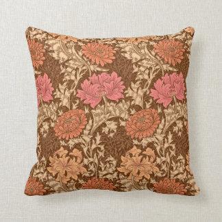 William Morris Chrysanthemums, Brown and Rust Cushion