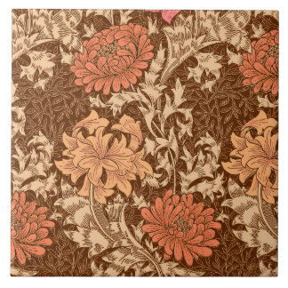 William Morris Chrysanthemums, Brown and Rust Large Square Tile
