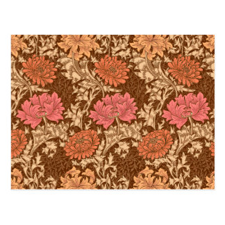 William Morris Chrysanthemums, Brown and Rust Postcard