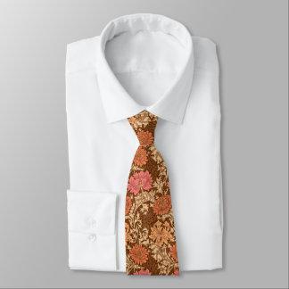 William Morris Chrysanthemums, Brown and Rust Tie