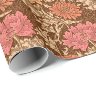 William Morris Chrysanthemums, Brown and Rust Wrapping Paper