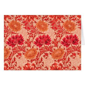 William Morris Chrysanthemums, Coral Orange Card