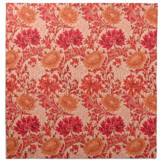 William Morris Chrysanthemums, Coral Orange Napkin