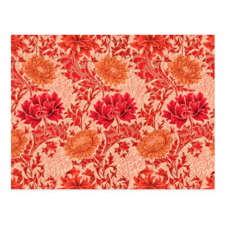 William Morris Chrysanthemums, Coral Orange Postcard