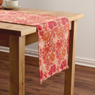 William Morris Chrysanthemums, Coral Orange Short Table Runner