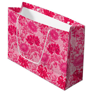 William Morris Chrysanthemums, Fuchsia Pink Large Gift Bag
