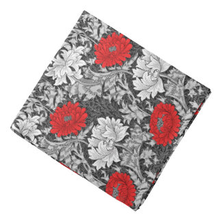 William Morris Chrysanthemums, Gray and Red Bandana